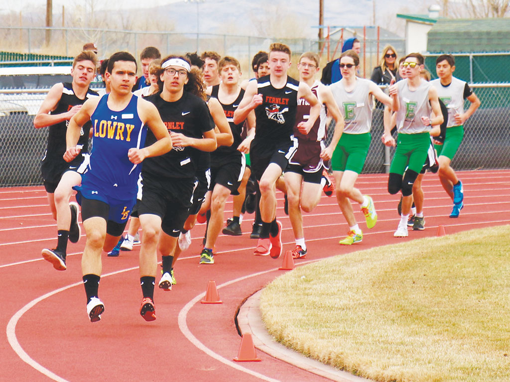 Will Kracaw leads in the first turn of the 1600 at the Fallon All League Meet held March 10.