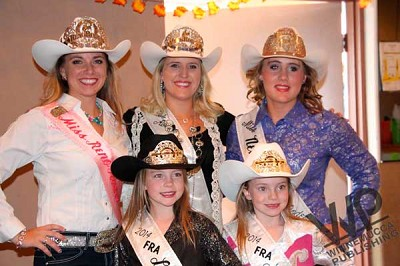 rodeo royalty pitched in to help at the Pershing County Domestic Violence Intervention soup and salad dinner on Oct. 2. Seen above are (back row left to right) Miss Reno Rodeo Ashley Espin, Miss Rodeo Nevada Tara Bowlby and Miss Nevada High School Rodeo Sarah Rogers; (front row left to right)  Fernley Rodeo Association Little Miss Emily Greathouse and Alison Greathouse. The two Fernley Rodeo Association Little Miss are the granddaughters of Lovelock residents Gary and Sherry Rogers. Miss Nevada High School Rodeo is the daughter of Lovelock residents John and  Kathrin Rogers.<br /><br /><!-- 1upcrlf2 -->