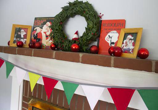 A banner made with reversible, removable fabric pennants makes it easy to update your decor with each season and holiday.