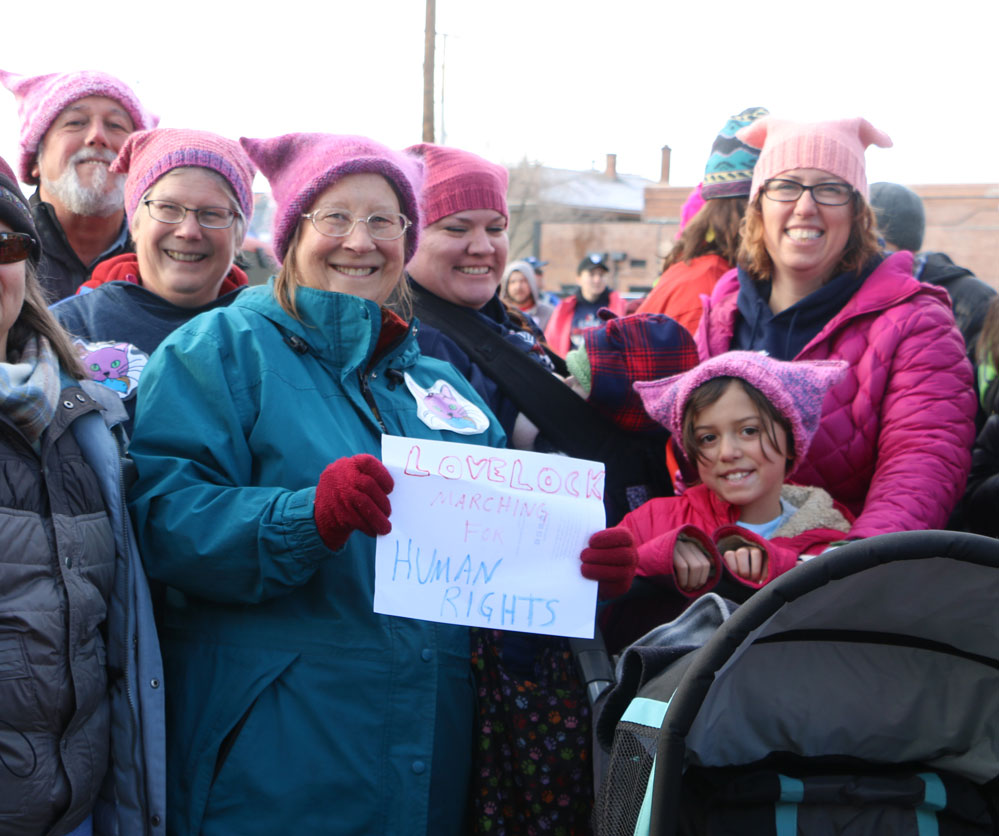 PEGGY JONES • Lovelock Review-Miner Several people from Lovelock attended the Reno Woman's March. (left to right) Dan Yansura, Margaret Tantilla, Patricia Tantilla, Brandy Cooney, Maggie King, 9, and Rachel Craspay.