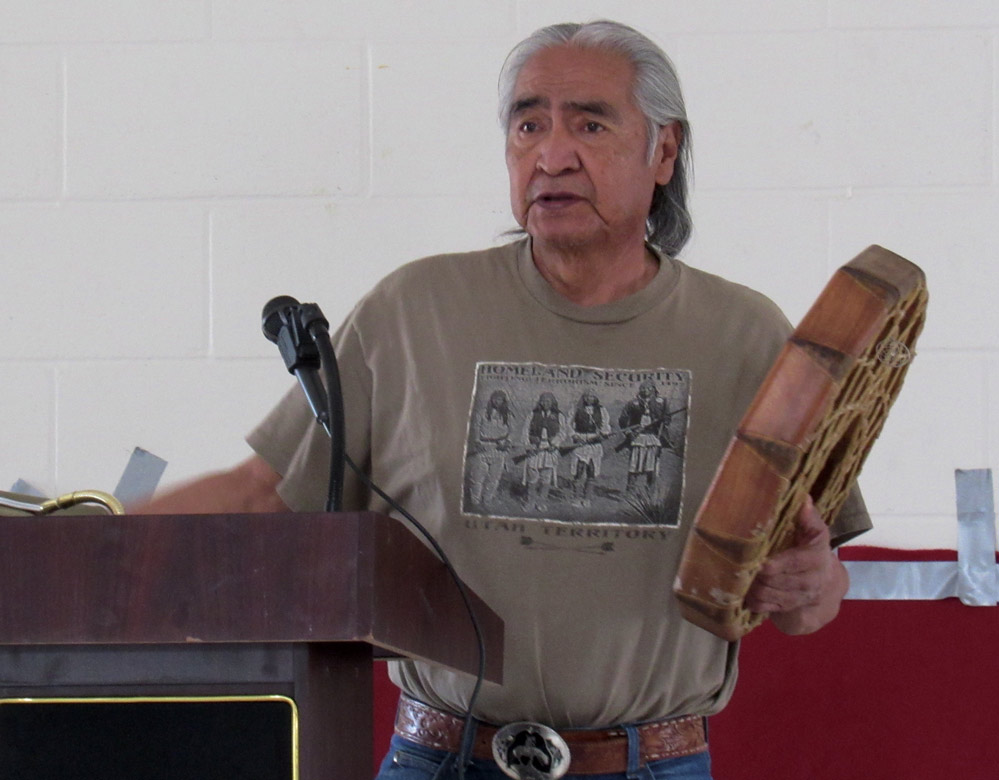 Dennis Smartt of the Fort McDermitt Paiute Shoshone Tribe holds his ceremonial drum at the Storytelling event Aug. 5.